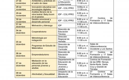 Cronograma de Videoconferencias